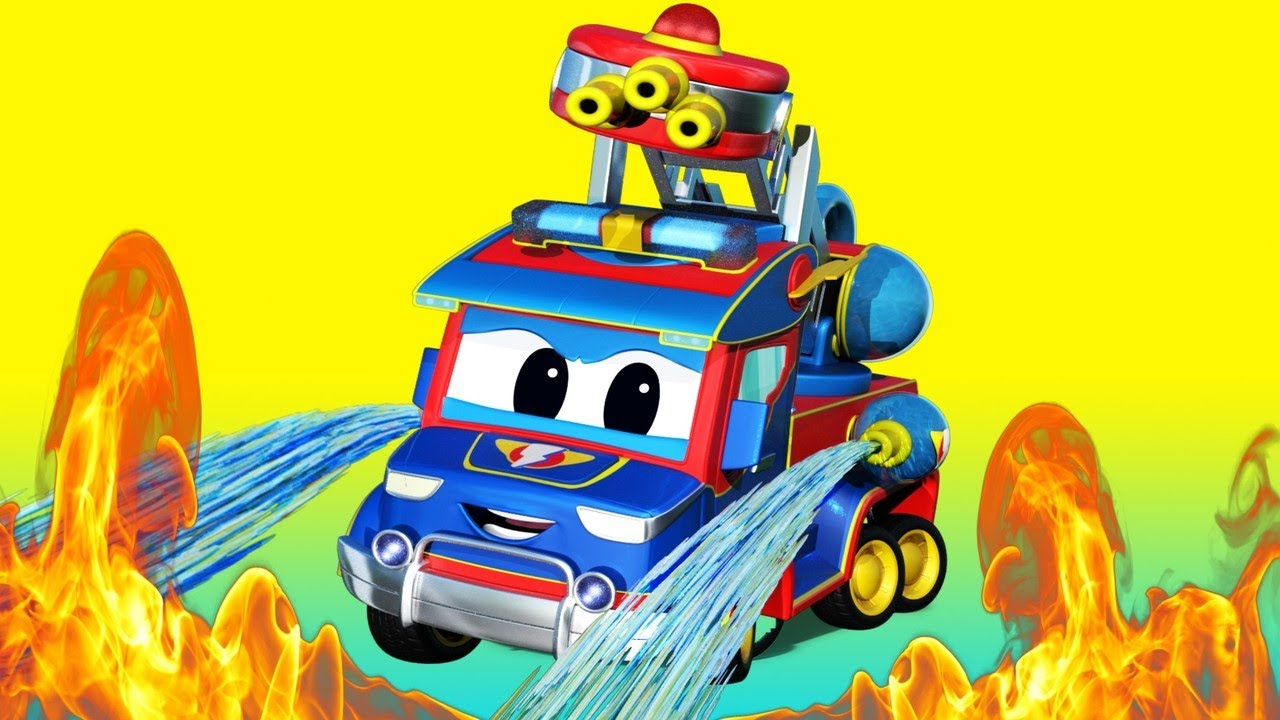 Phim hoạt hình về xe tải dành cho thiếu nhi -  Siêu xe cứu hỏa đến giải cứu - Thành phố xe hơi