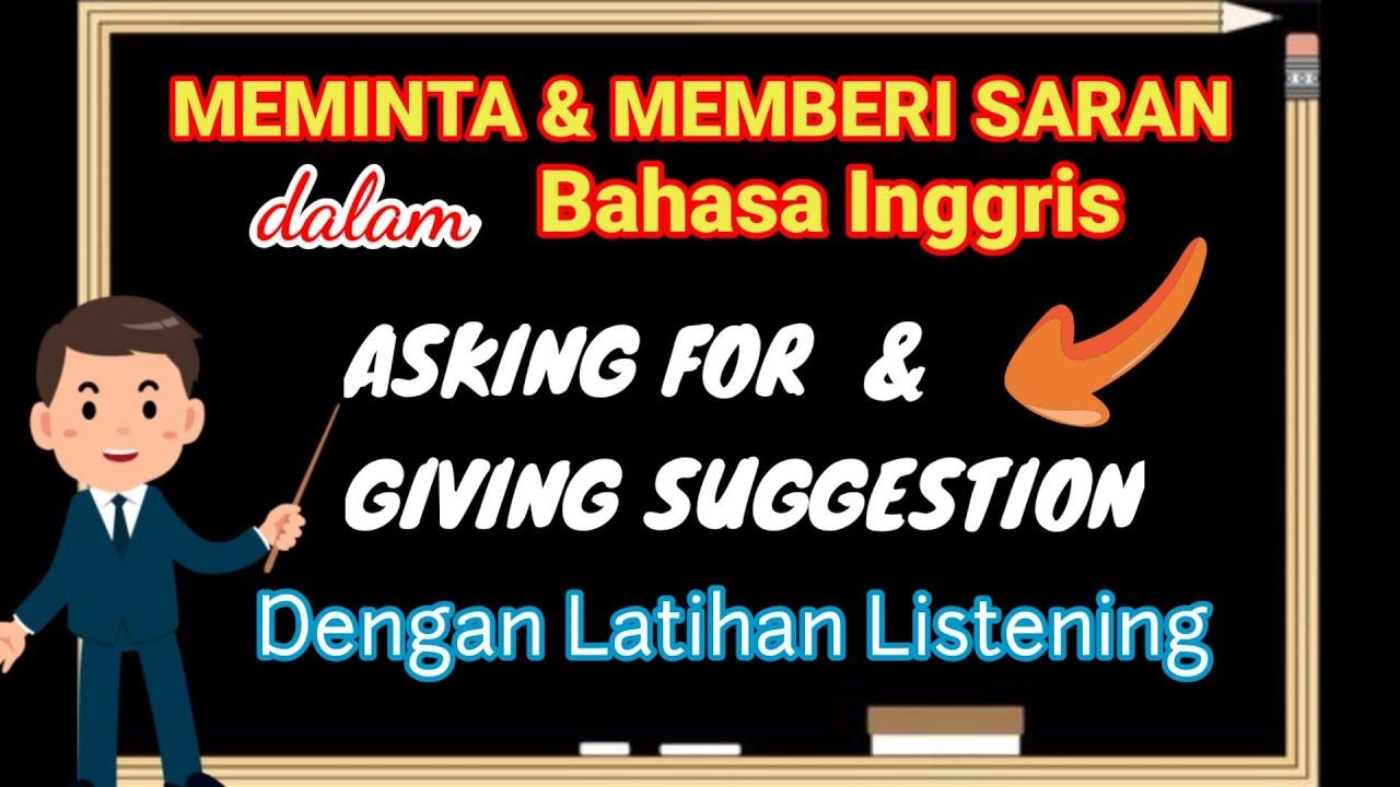 Asking For And Giving Suggestion In English Meminta Dan Memberi Saran Dalam Bahasa Inggris Youtube