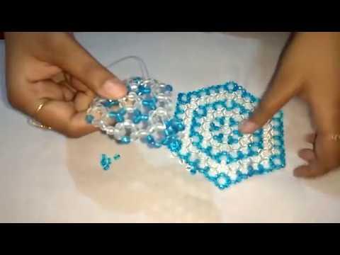 How to make beaded coaster, table mat Hexagon Coaster