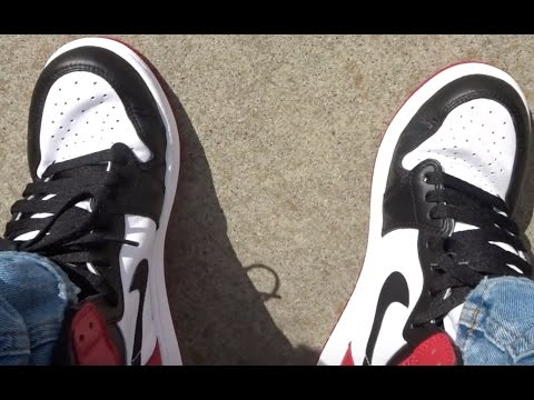 3f365a97abe4 2016 AIR JORDAN BLACK TOE 1 REALEST ON FOOT REVIEW ON YOUTUBE