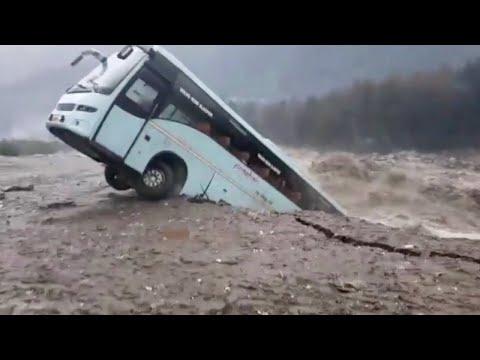 Bus Gets Taken By Massive Flood