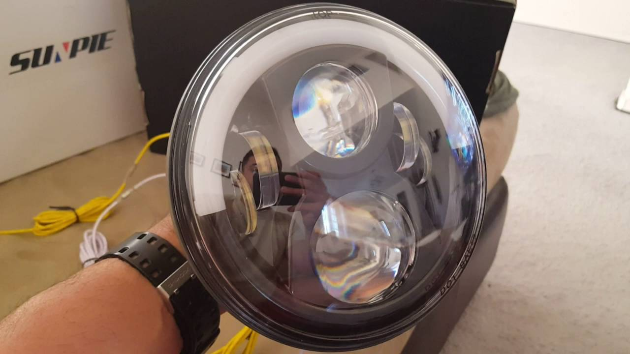 sunpie led headlights 7 half halo on a 2012 jeep wrangler unlimited install and instructions [ 1280 x 720 Pixel ]