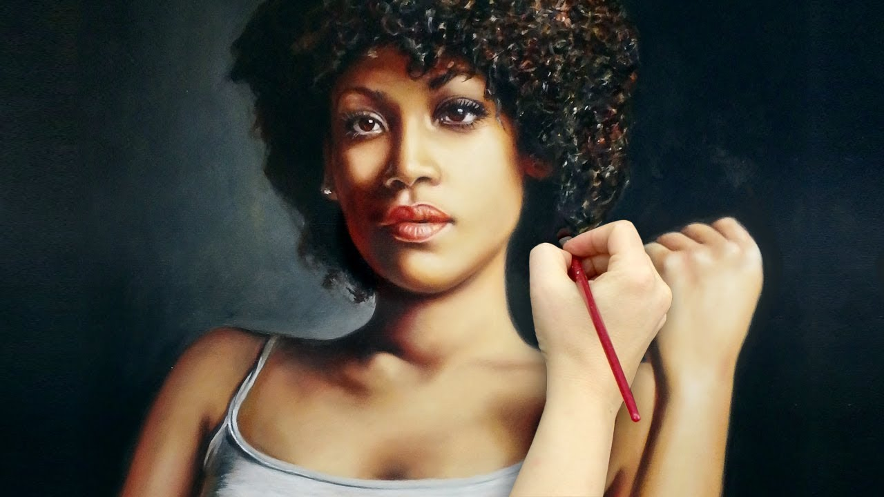 REALISTIC ART ✦ OIL PAINTING ✦ PORTRAIT DEMO - strong African woman / dark skin by Isabelle Richard