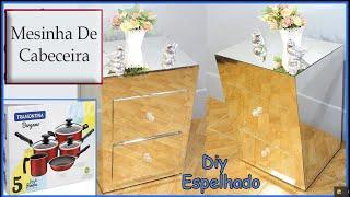 Faça Criado Mudo Espelhado Feito com Caixa de Papelão