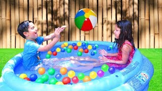 Qamar and Fahad in the POOL with COLOR BALLS - Swimming Pool Ball Pit For Kids