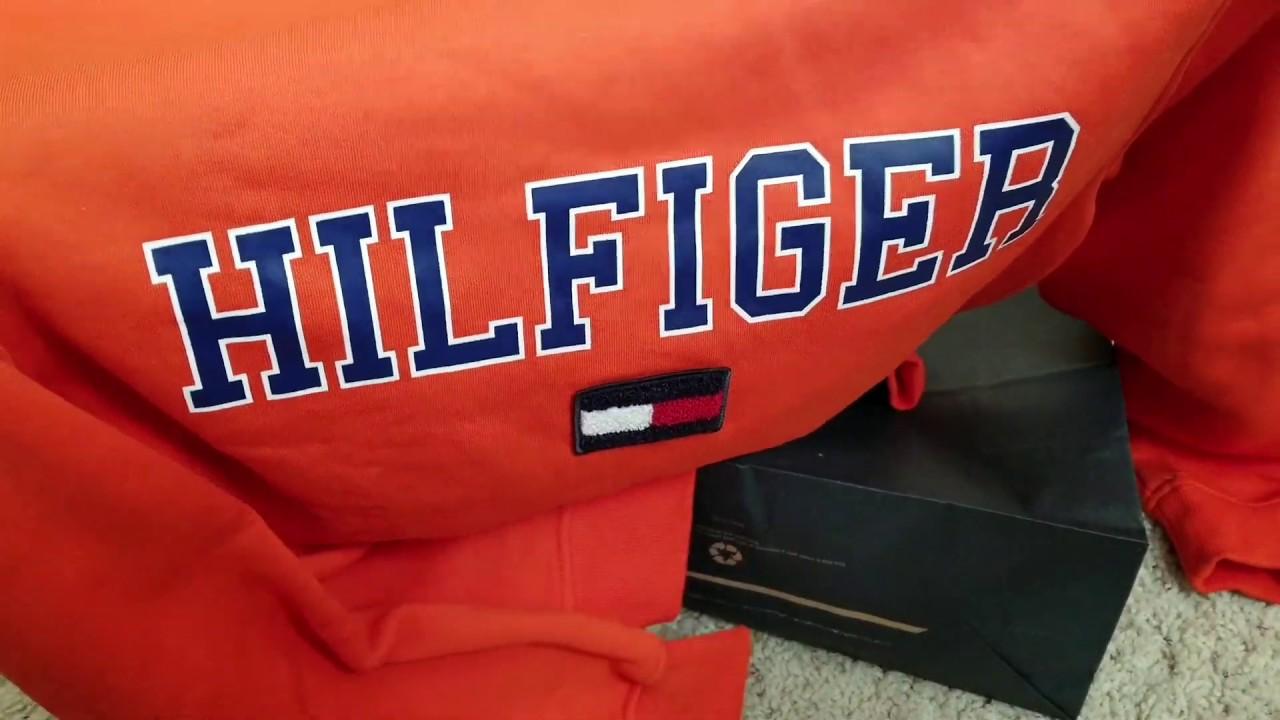 14fcb857 Tommy Hilfiger Men's Collegiate Orange Logo Crewneck Sweatshirt! 11 25 18