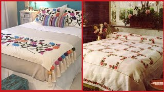 Top Class Hand Embroidered Bedsheet Collection//embroidery Patterns For Bedsheets