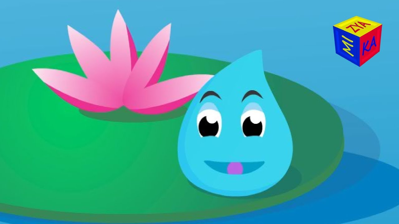 Water cycle for kids educational cartoon for children. Water droplet's adventure