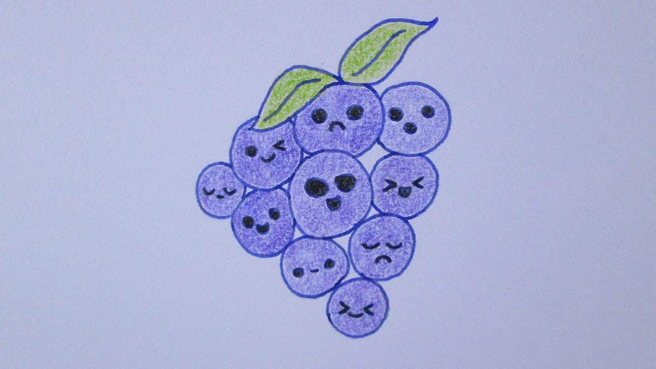 Como dibujar un racimo de uvas kawaii - YouTube