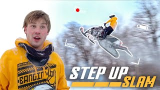 Huge Snowmobile Jump!! (He Crashed)