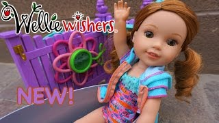 WELLIE WISHERS Unboxing Playful Garden Washtub Set With WILLA American Girl Doll!