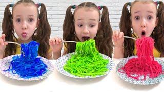 Ulya staged to transform Color Noodle ! لون المعكرونة