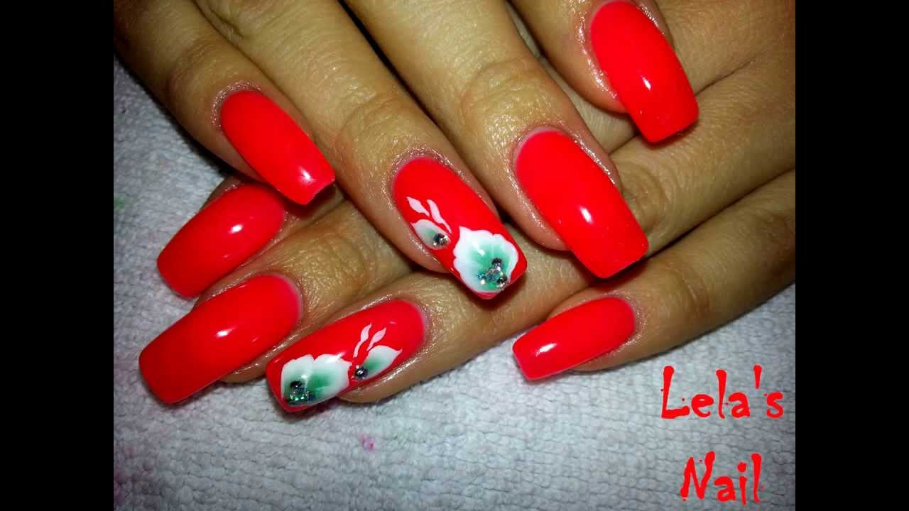 Neon red leaves nail art - YouTube