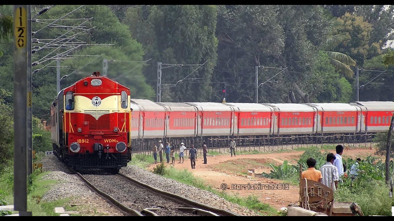 ALCo with RAJDHANI EXPRESS (INDIAN RAILWAYS) 22694 SBC RAJ ...