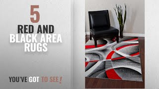 Top 10 Red And Black Area Rugs [2018 ]: 2305 Gray Black Red White Swirls 5'2 x7'2 Modern Abstract