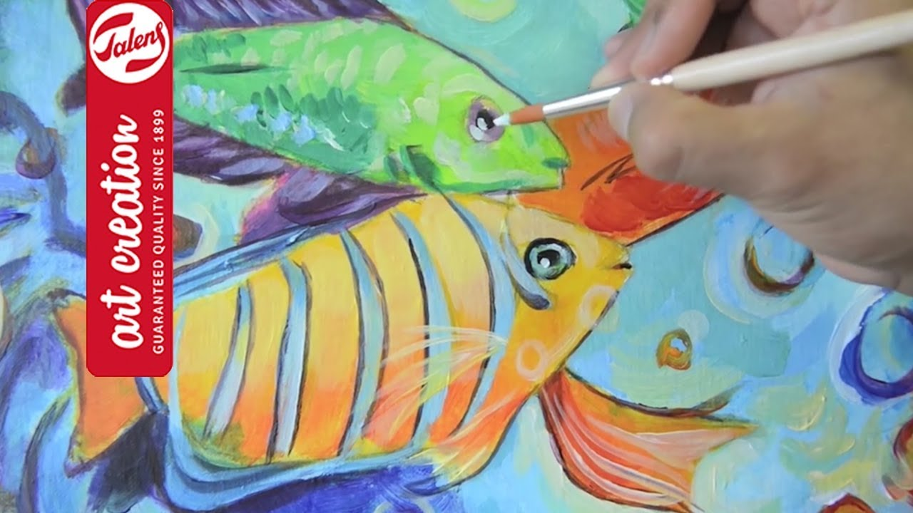 painting with acrylics tropical fish talens art creation youtube