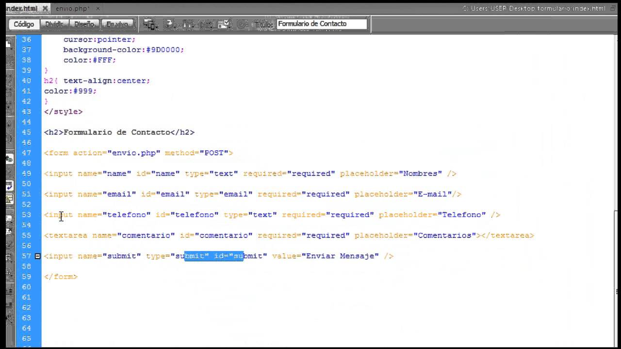 formulario de contacto php con envio a correo electronico - YouTube