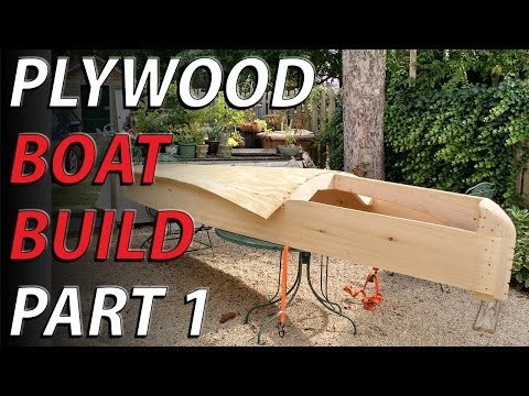 "HomeMade plywood boat part 1 - lumber yard plywood boat NO PLANS - bending 1/2"" plywood"