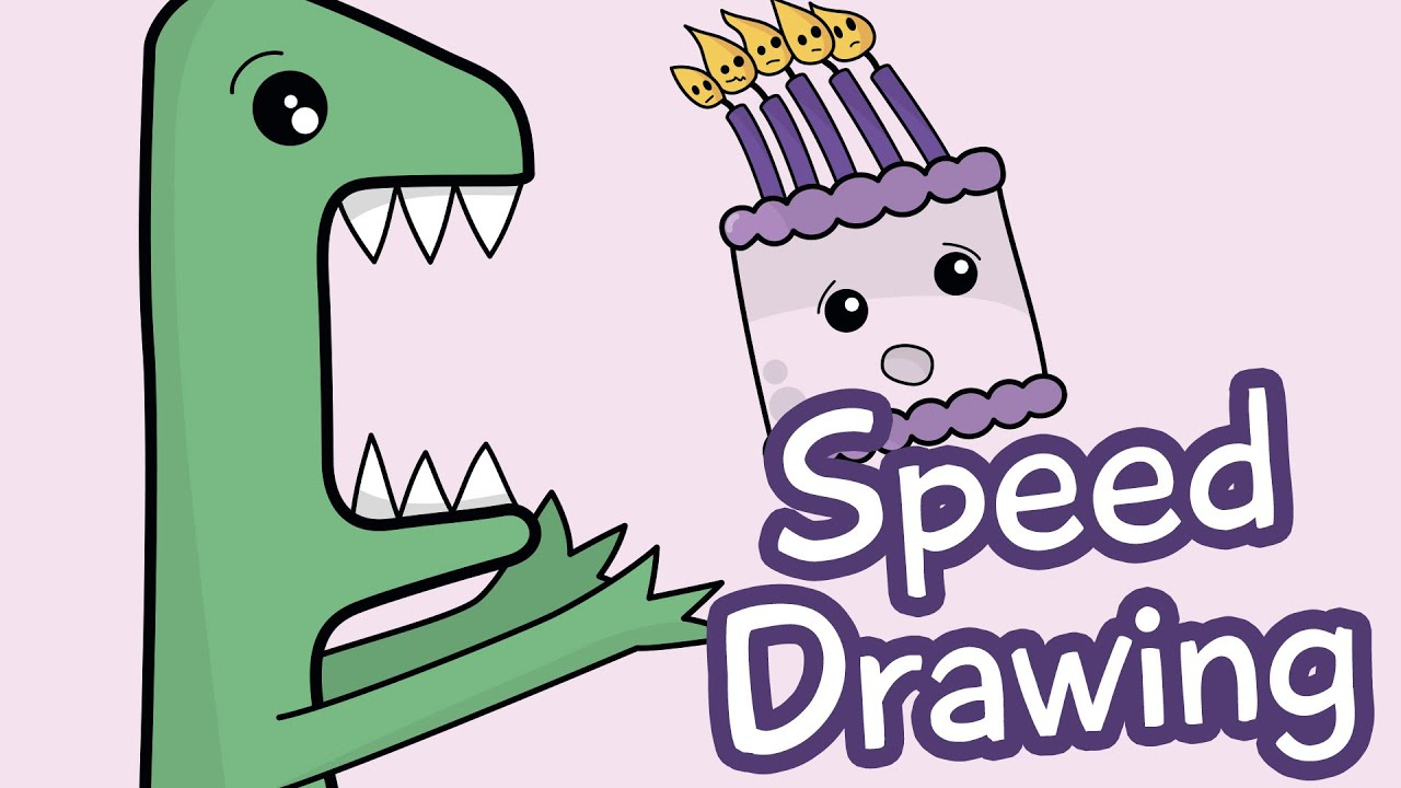 Speed Drawing How to Draw a Dinosaur Cute Birthday Card