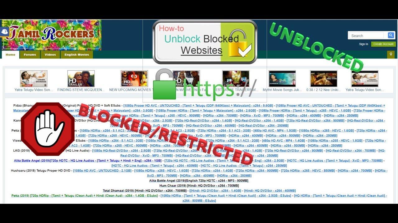 Unblocking blocked URL like tamilrockers 100% working