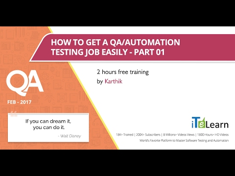 How to get a QA/Automation Testing job quickly-Part -1,2 hou