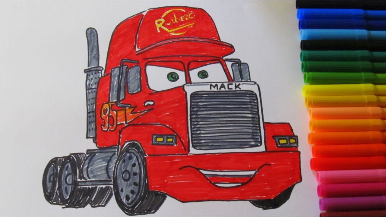 How To Draw A Cartoon Disney Pixar CARS 3 MACK 2017 ...