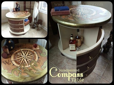 Wood Stained Art Compass Table - Fruniture Flip by Uniquely Grace