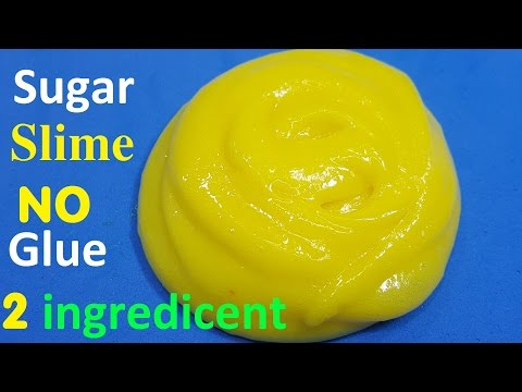 How To make Slime only 2 ingredicent No Glue with Sugar ! Easy
