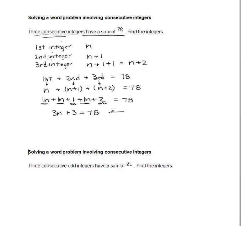 Solving a word problem involving consecutive integers ...
