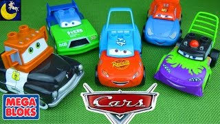 Disney Cars Mix and Match Mega Bloks Toys! Dinoco Lightning Mcqueen Mater Funny Toy Videos for Kids!