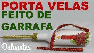 PORTA VELAS FEITA DE GARRAFA DE VIDRO + DECOUPAGEM