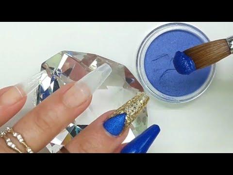 Unas Acrilicas Azul Rey Con Dorado Con Tecnica De Navaja Guia De