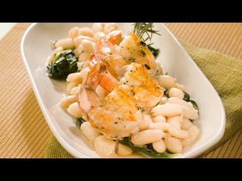 Grilled Shrimp with Rosemary White Beans
