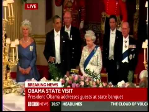 Obama humiliates himself while toasting the Queen of England.wmv