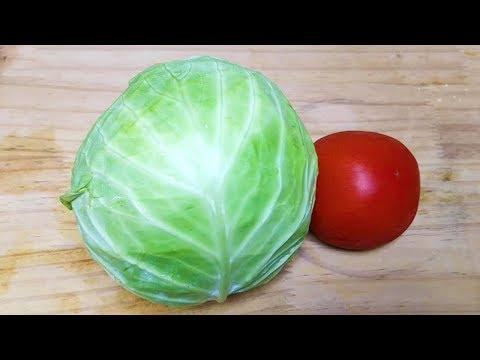 天熱了,包菜這樣做真過癮,加1個西紅柿,開胃爽口,天天吃不膩【小菜花廚房】