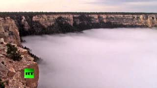 Grand Canyon covered by sea of clouds in amazing weather event