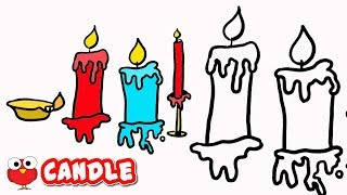 DRAW CANDLE STEP BY STEP FOR KIDS EASY TUTORIAL |Christmas Candle