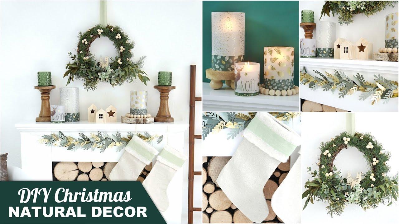Diy Neutral Farmhouse Christmas Mantel Decor Ideas Easy Inexpensive Holiday Decorations Crafts Youtube