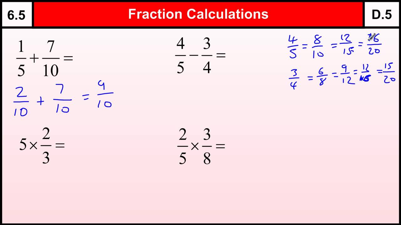 Worksheet How To Do Fractions 6 5 how to do fraction calculations basic maths core skills level 6gcse grade d