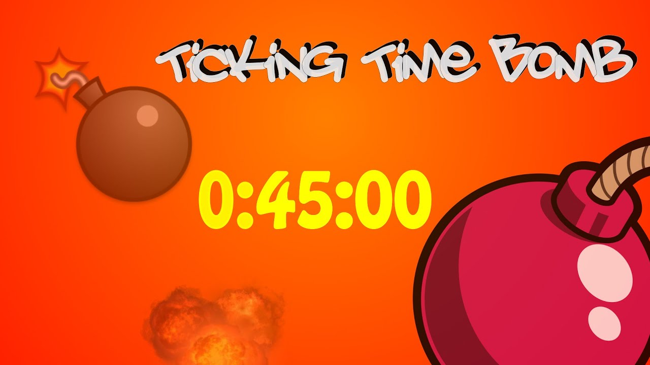 45 Minute Stop Watch Timer & Explosion - Ticking Time Bomb