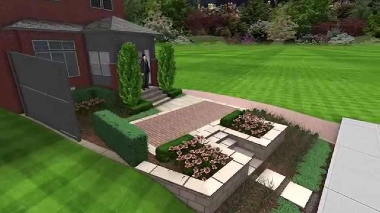 Front Yard Makeover Including A Parking Pad   3D Birdseye View Movie