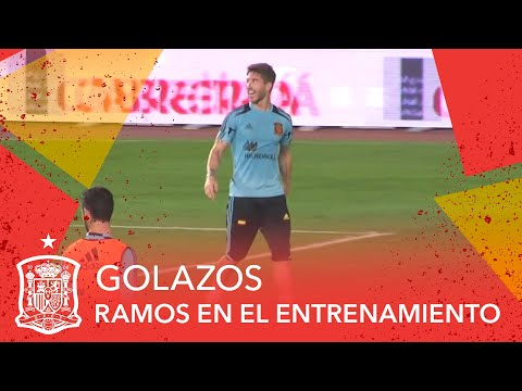 Sergio Ramos Scores Amazing Flying Backheel Goal in Spain Training