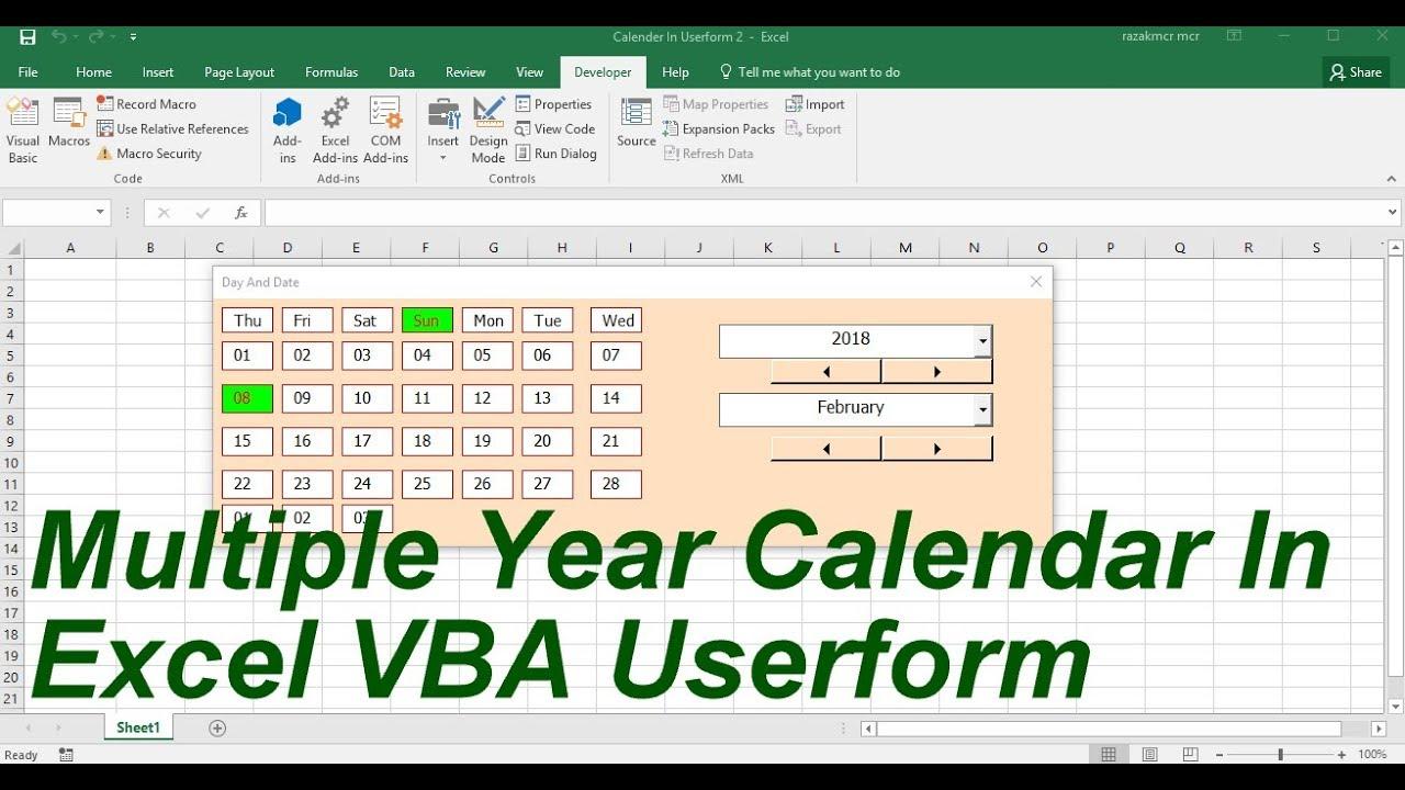 Multiple Year Calendar In userform Excel VBA - YouTube