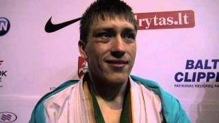 The 5th karate world cup men light weight champion Dmitriy Moiseev ...