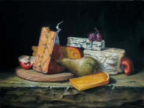 classical fine art cheese and fruits oil on canvas still life painting D.C. Chiriac