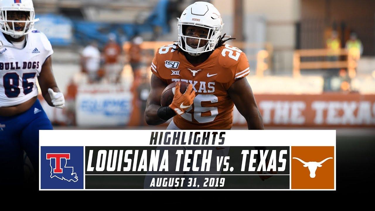 Louisiana Tech Vs No 10 Texas Football Highlights 2019 Stadium Youtube