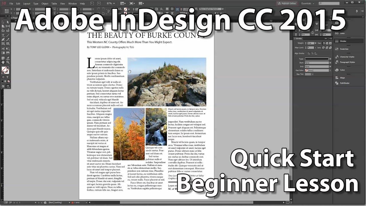 InDesign CC 2015 Beginner's Quick Start Lesson - YouTube