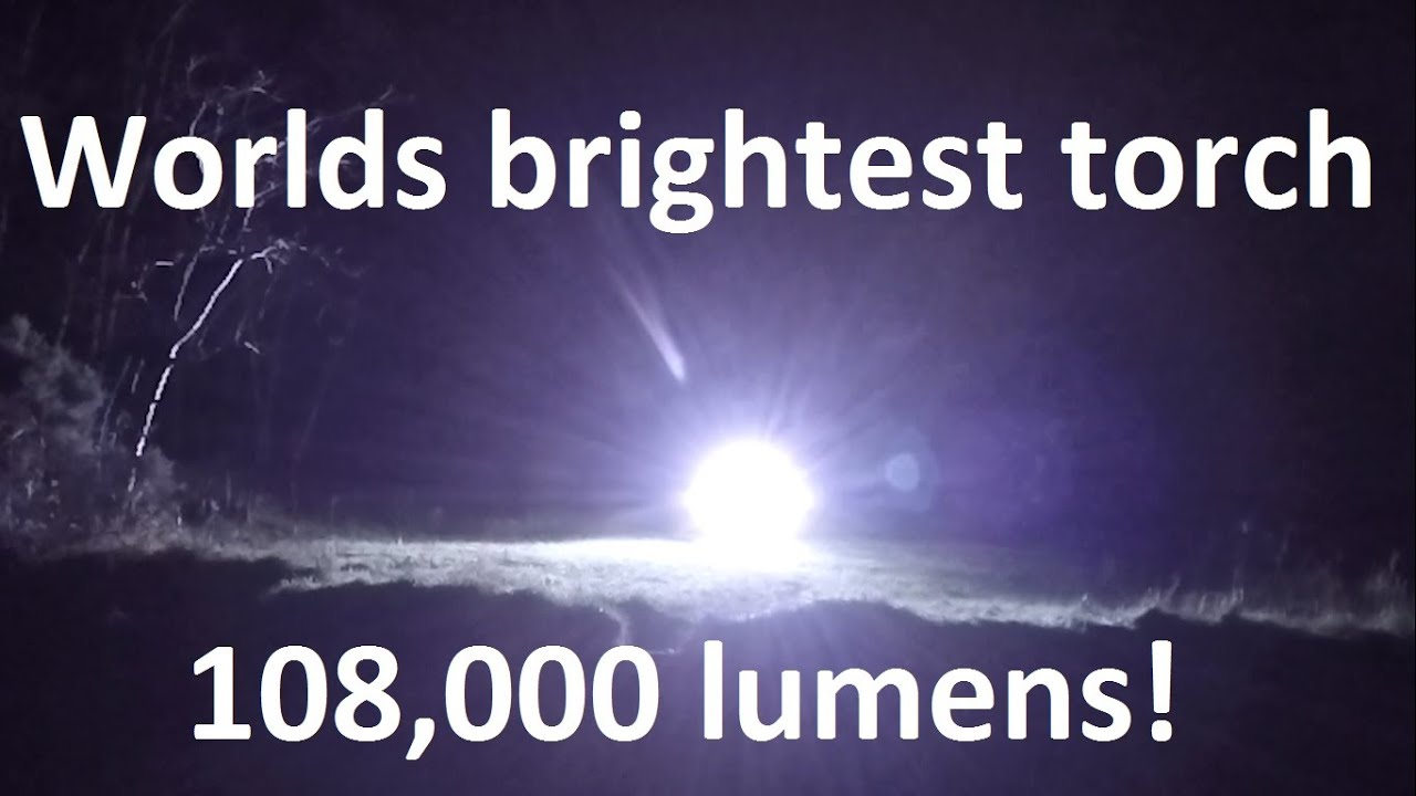 1.2kw Worlds brightest most powerful LED flashlight torch with 100W LEDs 108,000 lumens - YouTube