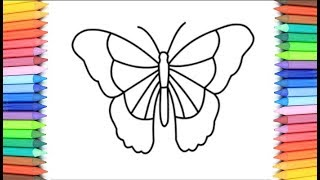 How to Draw a Butterfly for Kids 💙💚💜💖 Butterfly Drawing and Coloring Pages for Kids