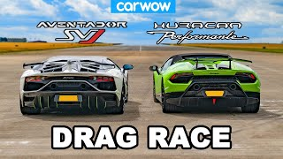 Lamborghini Aventador SVJ vs Huracan Performante DRAG RACE